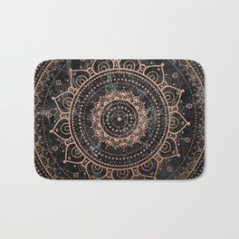 Mandala - rose gold and black marble Bath Mat