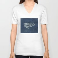 plane V-neck T-shirts featuring Plane by Mr and Mrs Quirynen