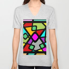 Color Abstract Pattern Unisex V-Neck