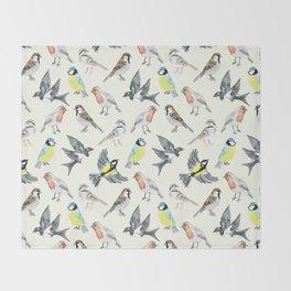 Illustrated Birds Throw Blanket