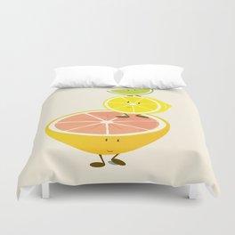 Smiling citrus fruit stack Duvet Cover