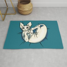 Playful Sphynx Kitty - Curled Up Nude Cat - Wrinkly Nude Cat - Blue Rug