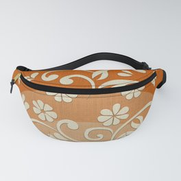 """Beige Flowers & Orange Texture"" Fanny Pack"