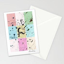 Luxemburg, Luxemburg, city map, 60's inspired Pop Art design Stationery Cards