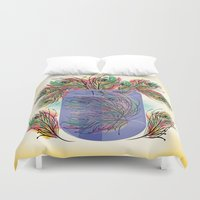 feathers Duvet Covers featuring Feathers by famenxt