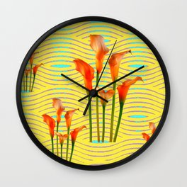 Yellow Modern Art Golden Calla Lilies Wall Clock