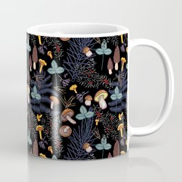 dark wild forest mushrooms Coffee Mug