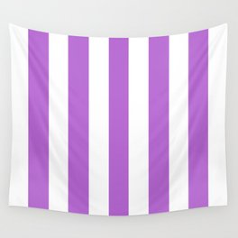 Rich lilac violet - solid color - white vertical lines pattern Wall Tapestry