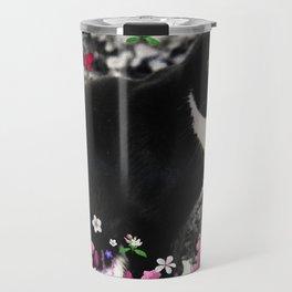 Freckles in Flowers II - Tuxedo Kitty Cat Travel Mug