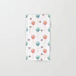Cute teal coral brown birds balloons watercolor Hand & Bath Towel
