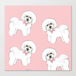 Bichon Frise pink bows christmas holiday themed pattern print pet friendly dog breed gifts Canvas Print