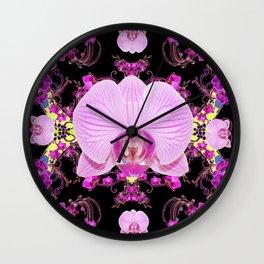 Purple Orchids Pattern Fantasy Yellow Black Art Pattern Wall Clock