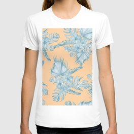 Ocean Blue Palm Leaves on Coral Apricot T-shirt