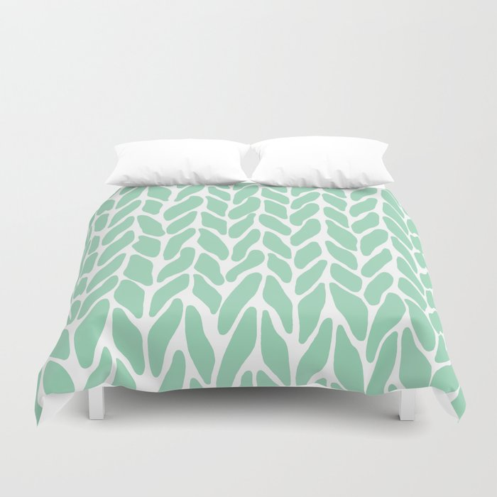 Hand Knitted Mint Duvet Cover