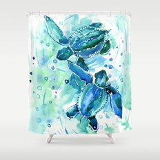 Turquoise Blue Sea Turtles in Ocean Shower Curtain
