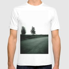 Blurry Trees White MEDIUM Mens Fitted Tee