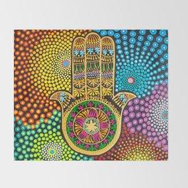 Hamsa Hand, hand of fatima, mandala, yoga art, mandala art, meditation art Throw Blanket