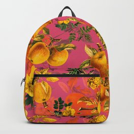 Vintage & Shabby Chic - Summer Golden Apples Pink Flowers Garden Backpack