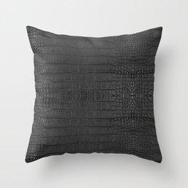 Alligator Black Leather Throw Pillow