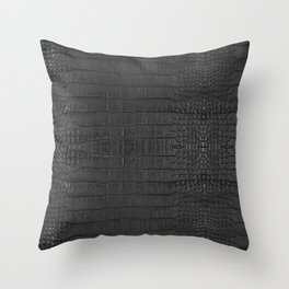 Alligator Black Leather Throw Pillow