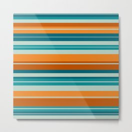 Summer Stripes Horizontal Pattern in Orange, Rust, Teal, Aqua, and Turquoise Metal Print