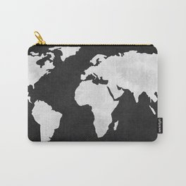 Earth Map Dark Gray and White Continents Carry-All Pouch
