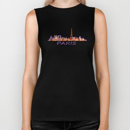 París City Skyline HQ Watercolor Biker Tank