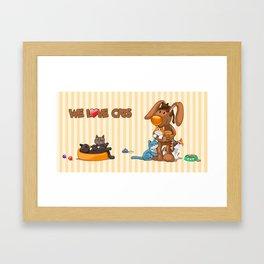 Rabbit catlover Framed Art Print