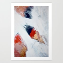 Into the Unknown: a minimal abstract mixed-media painting in red blue & gold by Alyssa Hamilton Art Art Print
