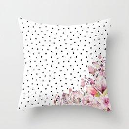 Boho Blush Flowers and Polka Dots Throw Pillow