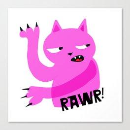 Pink Rawr Cat Canvas Print