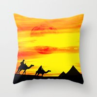 egyptian Throw Pillows featuring Egyptian supermoon by Pirmin Nohr