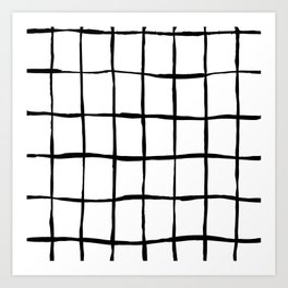 Black white hand drawn geometric abstract random stripes Art Print