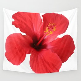 Scarlet Hibiscus Tropical Flower Vector Wall Tapestry