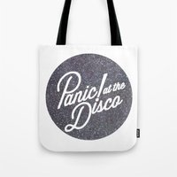panic at the disco Tote Bags featuring Panic! at the disco round glitter by Van de nacht