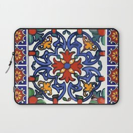 Talavera Mexican tile inspired bold design in blue, green, red, orange Laptop Sleeve