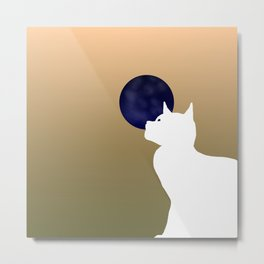 Moon and white cat Metal Print