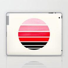 Red Mid Century Modern Minimalist Circle Round Photo Staggered Sunset Geometric Stripe Design Laptop & iPad Skin