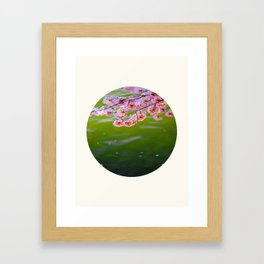 Mid Century Modern Round Circle Photo Graphic Design Pink Japanese Blossoms Over Green Pond Framed Art Print