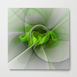 Abstract Green Fractal Art Metal Print