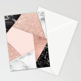 Modern rose gold glitter black white marble geometric color block Stationery Cards