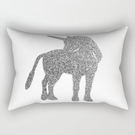 Glitter Unicorn - silver Rectangular Pillow