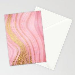 Walk with the waves - Pink and Gold Mermaid Marble Stationery Cards