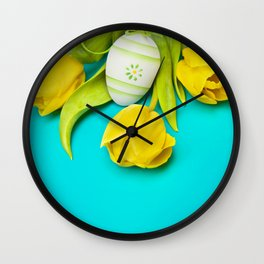 Spring Yellow Tulips and Easter Egg Wall Clock