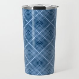 Charming blue cage plaid checkered Travel Mug