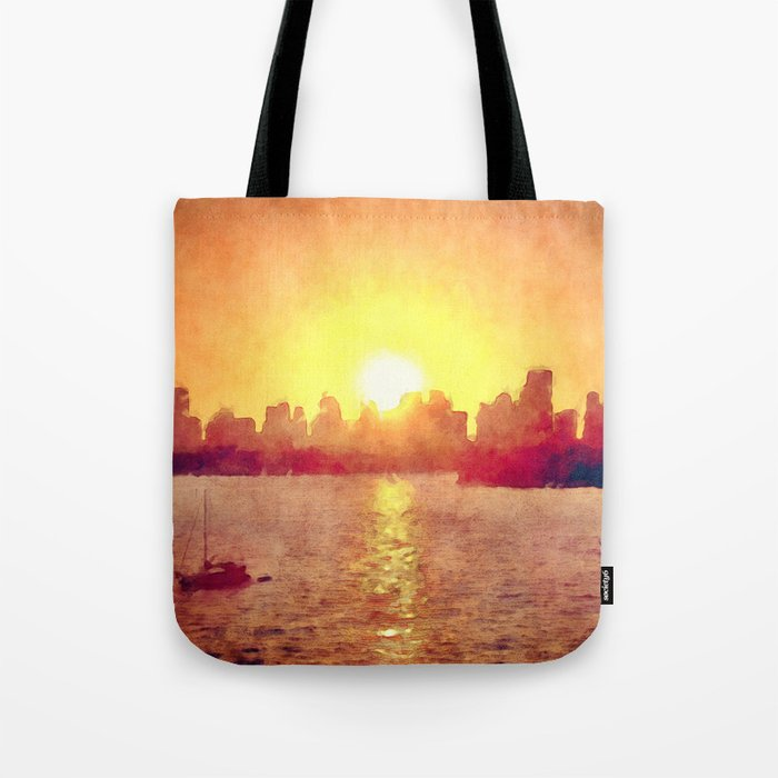 Sunset Over Miami Florida Tote Bag