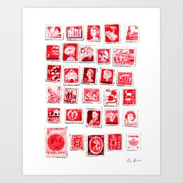 Red Stamp Collection Love Letters Valentine Romantic Pink Sexy Art Print