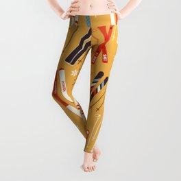 Bright Retro Skii Pattern Leggings