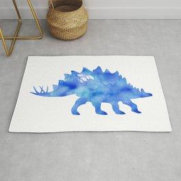 Blue Stegosaurus Watercolor Painting Rug