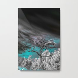 Teal Skies Infared Metal Print
